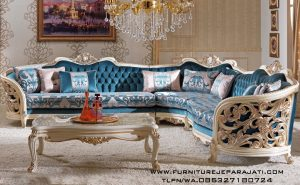 Sofa Sudut Klasik Ukiran Mewah Terbaru Tahun Ini