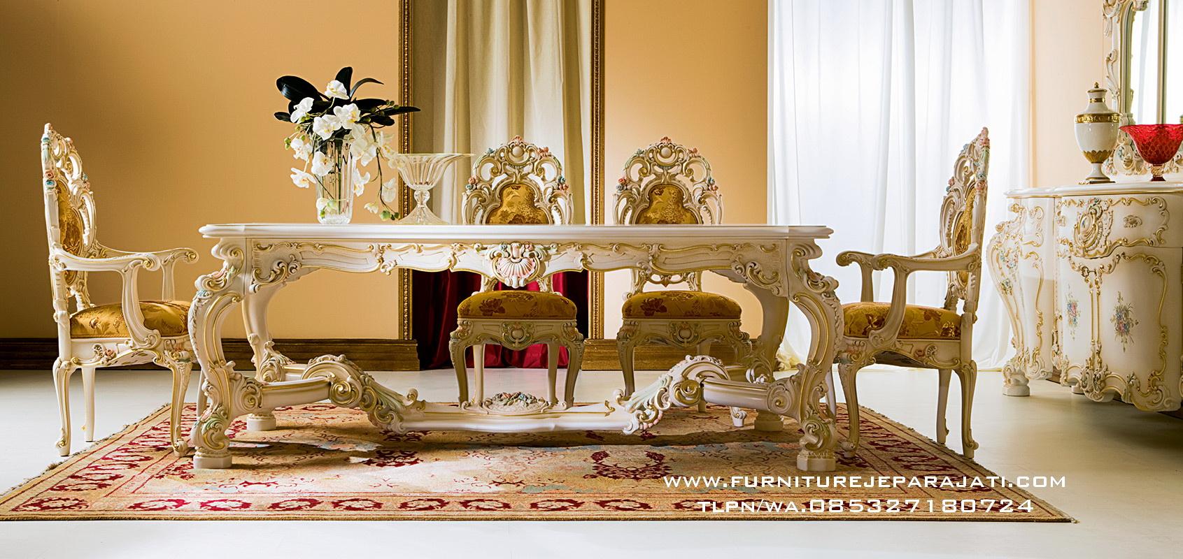 Meja Makan Minerva Ukir Mewah Klasik Furniture Jepara
