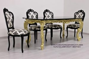 Set Meja Makan Ukiran Klasik Gold Kombinasi