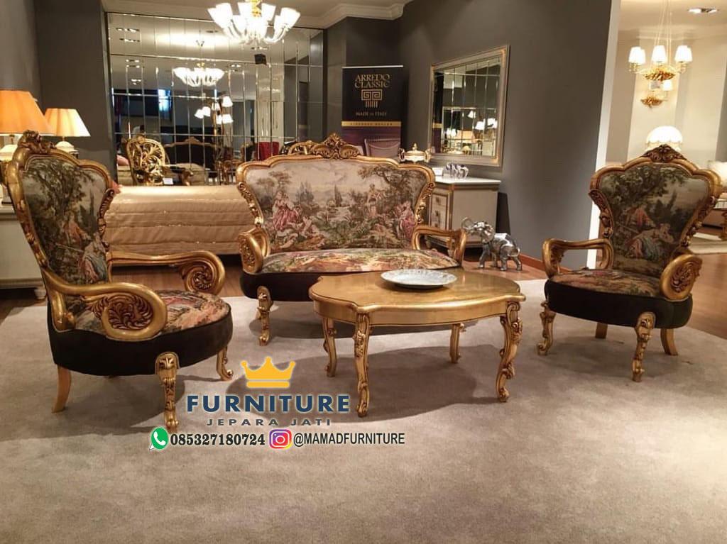 Set Kursi Sofa Kombinasi Lukis