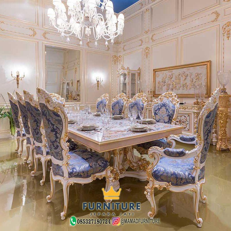 Set Meja Makan Mewah Ukiran Design Modern Furniture Jepara Jati