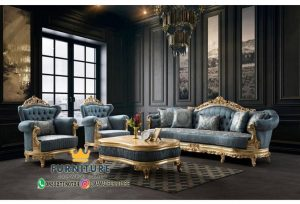 Set Sofa Ruang Tamu Blue Gold
