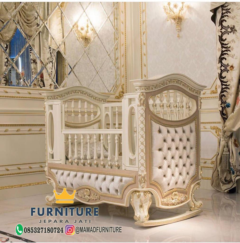 Tempat Tidur Bayi Mewah White combination gold