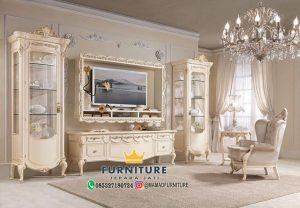 Bufet TV Ukiran Klasik White Duco Jepara