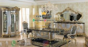 Set Meja Makan Marmer Furniture Jepara Jati