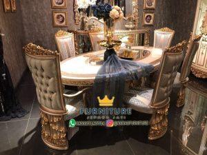 Set Meja Makan Mewah Oval Ukiran Klasik Jepara