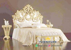 Tempat Tidur Mewah Ukiran Relief Gold Duco