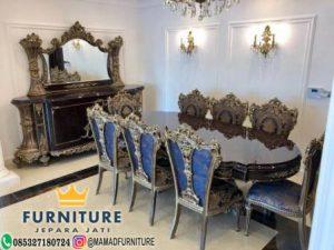 set meja makan ukiran klasik jati furniture