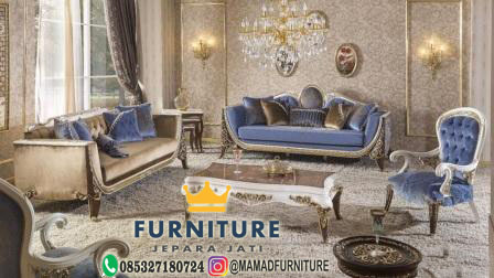 set sofa tamu blue catterfild klasik jepara jati furniture