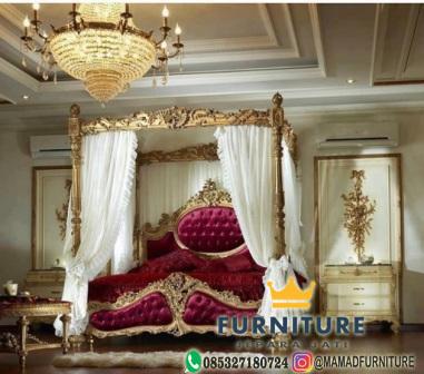 tempat tidur kombinasi layer mewah jati jepara